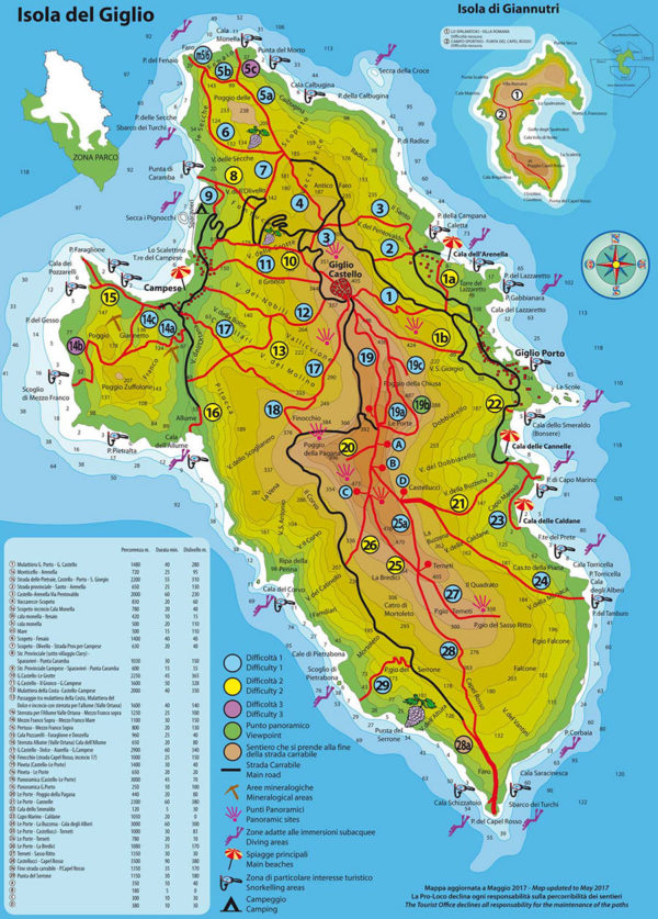 mappa isola del giglio con sentieri e spiagge