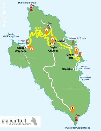 mappa percorso in bici isola del giglio